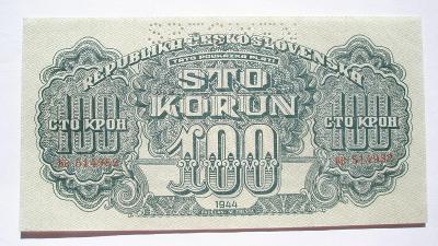 Českoslov. 100 koruna 1944 specimen nahoře série BB
