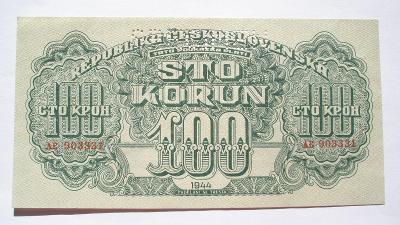 Českoslov. 100 koruna 1944 specimen nahoře série AE