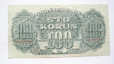 Českoslov. 100 koruna 1944 specimen nahoře série BA