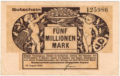 5 MILLION MARK, 1923, nádherná bankovka, stav 1 !!!
