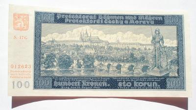 Protektorát 100 koruna 1940 nepreforovaná 2 vydání série G17