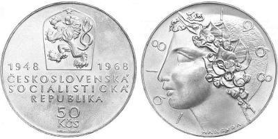 💥 stříbrná pamětní mince 50 Kčs 1968 - 50 let ČSR - TOP !