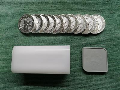 10 x 2 oz The White lion of Mortymer 2020, 20 oz = 622g 999,9 Ag +tuba