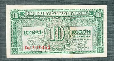 10 kčs 1950 serie DC NEPERFOROVANA stav 0