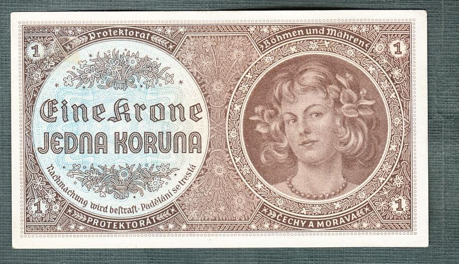 1 koruna 1940 serie D071 neperforovana stav 1 - Bankovky
