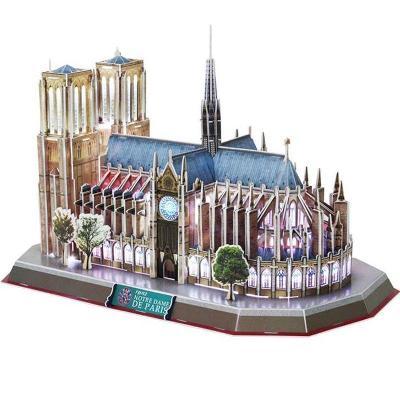 Katedrála Notre Dame Paříž - 3D puzzle model s LED osvětlením