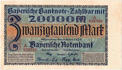 20 000 MARK, 1923, série A!!!, vzácná bankovka, krásný stav 1+!!!