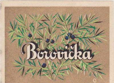 Likérka OSTRAMO-Ostrava-etiketa-Borovička-30-40 léta-od korunky!