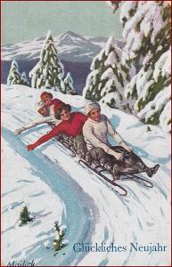 Mailick A. * sáně, lidé, zimní motiv, gratulační, Nový rok * M2329