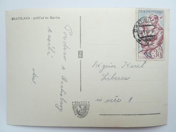 BRATISLAVA - pohlad zo Slavína 1960 - Pohlednice