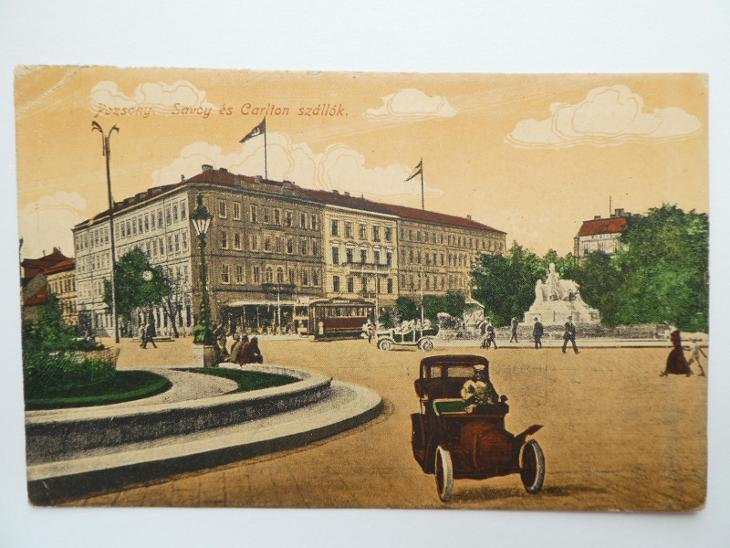 Bratislava - Pozsony - hotel - doprava - tramvaj - auto 1919 - Pohlednice