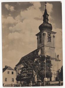 Česko veľký formát ČB nepoužitá: Klenčí pod Čerchovem - kostel
