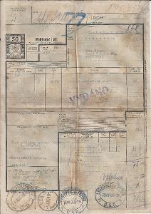 Nákladní list BuM 1939, z PRAHY do LÍSKOVCE U FRÝDKU OBRÁZEK!!POPIS!!