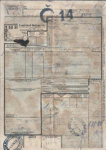 Nákladní list BuM 1941, z PRAHY do LÍSKOVCE U FRÝDKU OBRÁZEK!!POPIS!!