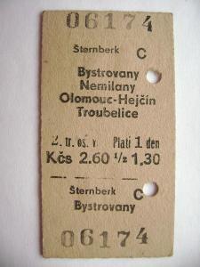 Jízdenka ČSD: Šternberk - Bystrovany, Nemilany, Olomouc-Hejčín....1966