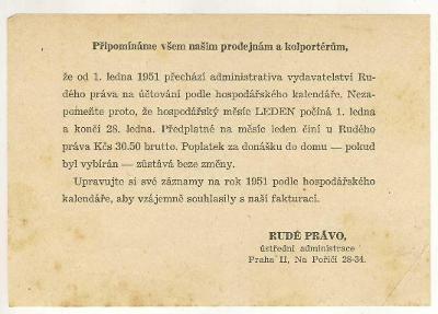 RUDÉ PRÁVO - změna předplatného - 1951