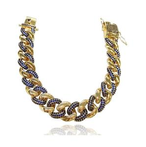 Náramek Cuban Chain Hip-Hop Jewelry Zlatý Blue Spinel 8 inch