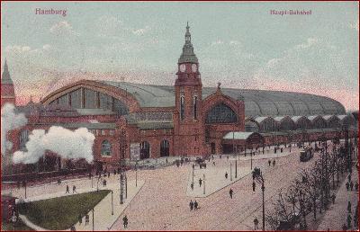 Železnice (doprava) * nádraží, budova, Hamburg, Německo * M2594