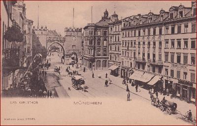 München * Karlsthor, městská brána, tramvaj, lidé * Německo * Z1808