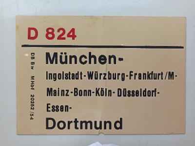 Směrová cedule DB - D 824/825 (München - Dortmund) 70.léta