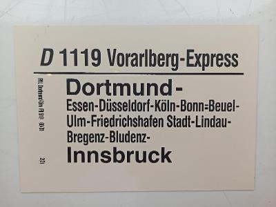 Směrová cedule DB - D 1119 VORARLBERG-EXPRESS