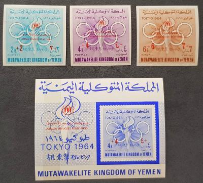 Jemen Kingdom 1967 Olympijské hry, přetisk, bez perforace, kat. 24Euro