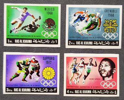 Ras Al Khaima 1969 Olympijské hry 68, série bez perforace, kat. 11Euro