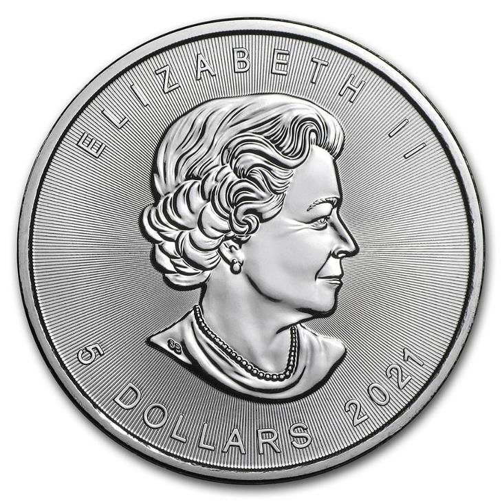 stříbrné mince Maple Leaf 1 oz 999,9/1000 v plastové kapsičce - Numismatika
