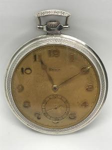 Starožitné 2 plášťové stříbrné kapesní hodinky Doxa, krásný plášť