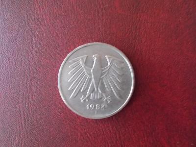Německo mince  pět DM Marek 1984 f