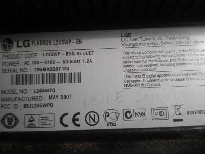 """24"""" LCD monitor LG FLATRON nejde zapnout na opravu nebo ND!"""
