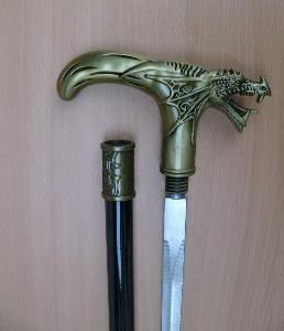 Vycházková hůl s ostrým mečem drak