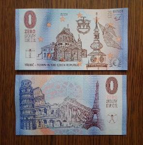 0 Euro zero bankovka souvenir Třebíč pamětní bankovka stará pohlednice