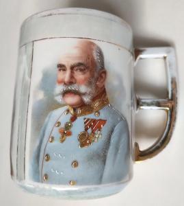Porcelánový hrnek - František Josef I., Vilém II., Paul von Hindenburg