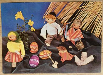 Pohlednice Veselé Velikonoce - kraslice, loutky koledníků