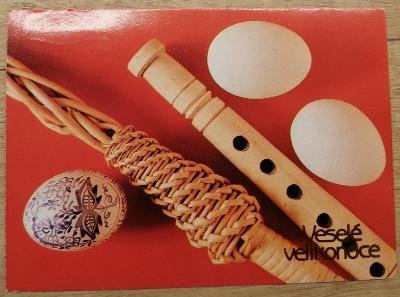 Pohlednice Veselé Velikonoce - flétna, vajíčka, pomlázka