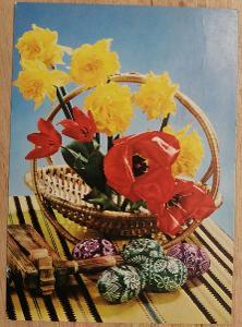 Pohlednice Veselé Velikonoce - řehtačka, kraslice, košík, květiny