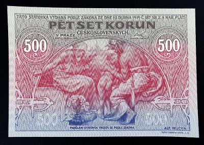 500 Kč 1919 výroční bankovka Mucha, novotisk Ivančice 2020, UNC !!!