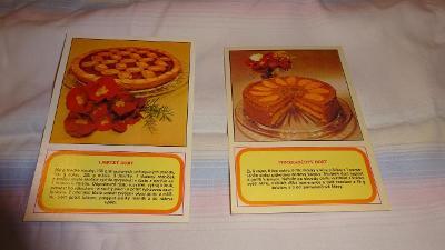 2 pohlednice s recepty