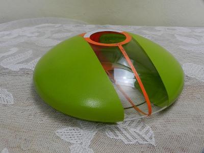 Zajímavá Autorská Váza zeleno oranžová Kamenický Šenov