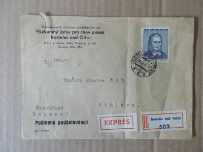 Obálka dopis filatelie Němcová ČSSR R nálepka Expres Chov Prasat Ustí
