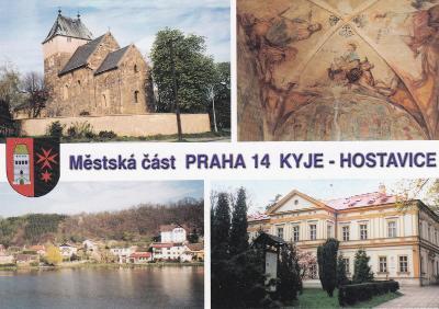 PRAHA 14 KYJE KOSTEL sv. BARTOLOMĚJE FRESKY V KOSTELE-HOSTAVICE ZÁMEK