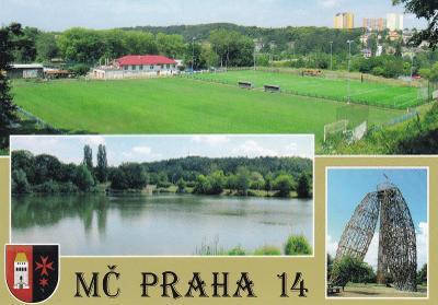 PRAHA 14 KYJE STADION RYBNÍK ROZHLEDNA DOUBRAVKA ZNAK ČISTÁ