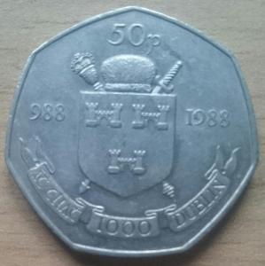 Irsko 50 Pence 1988 Dublin