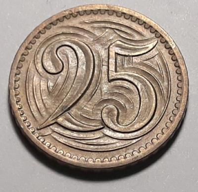 25 haléřů - 1933 - CuNi (80+20), 4.0g, 21.0 mm, aut. O. Španiel
