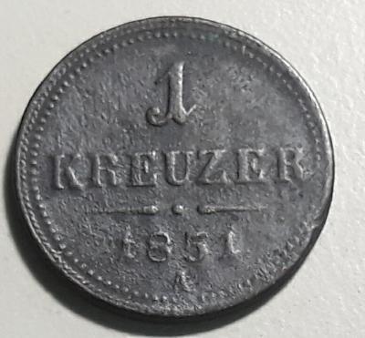"""1 krejcar """"ein kreutzer"""" - 1851- František Josef I."""