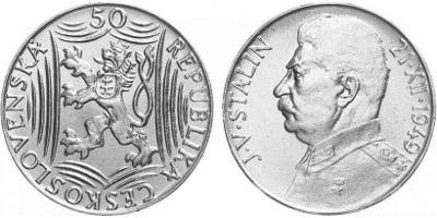 💥 stříbrná pamětní mince 50 Kčs 1949 - 70. výr. J.V. Stalina - TOP!