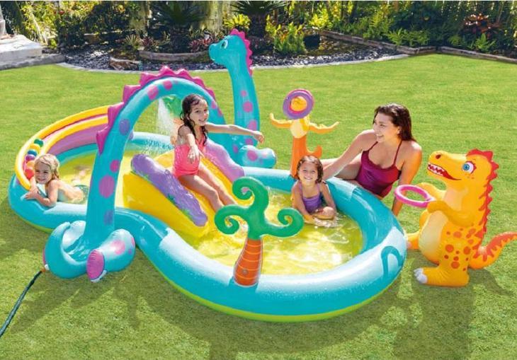 Nafukovací bazénové centrum Dinoland 302 x 229 x 112 cm - Zahrada