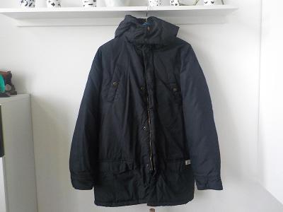 Tommy Hilfiger delši černa bunda kabat s kapuci vel L