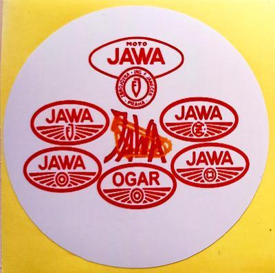 JAWA historie znaku (bílá samolepka pr.7) - dle foto 1x.
